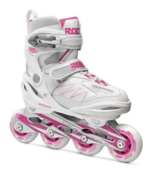 Roces Kinderskeelers meisjes Moody 5.0 verstelbaar - wit/roze