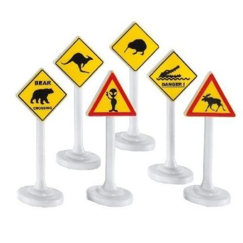 6x Speelgoed waarschuwingsborden/verkeersborden 10 cm 10148089
