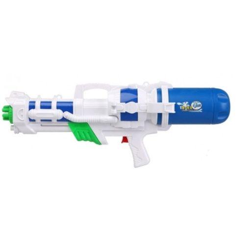 Mega waterpistool met pomp wit/blauw 66 cm 10154237