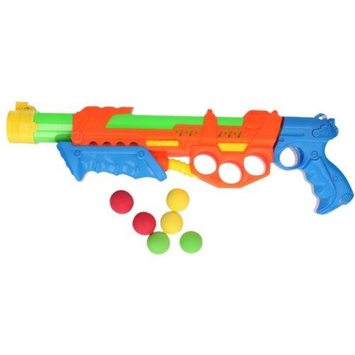 Waterpistool met pomp en 6 ballen oranje/blauw 47 cm 10154250