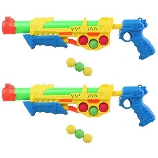 2x Waterpistolen met pomp en 6 ballen geel/blauw 47 cm 10154301