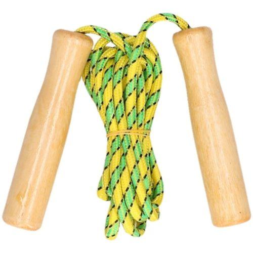 Groen/geel springtouw met houten handvatten 236 cm 10141556
