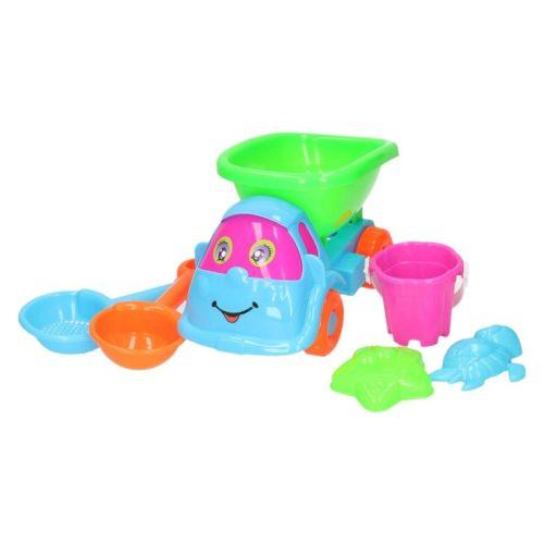 Blauw/roze zandbak speelauto 6-delig 10167704